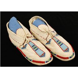 Pair of Sioux Indian Mans Beaded Moccasins