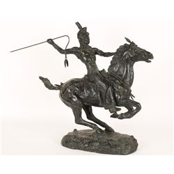 Sculpture of Indian on Horseback with Coup Stick.