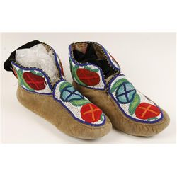 Pair of Plains Indians Mans Beaded Moccasins