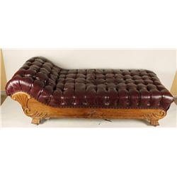 Elegant Oak Chaise Lounge.