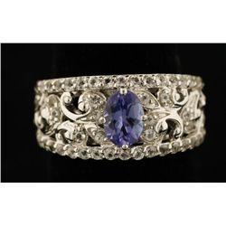Sterling Silver Tanzanite & White Topaz Ring.