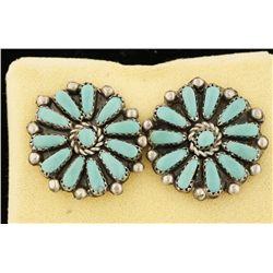 Sterling Silver Cluster Earrings by Navajo Mae Bia
