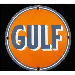 Antique GULF Gasoline Porcelain Advertising Sign.