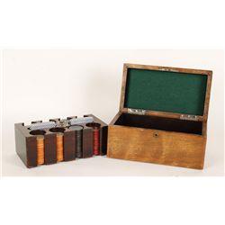 Mahogany Poker Chip Box with Interior Rack & Clay