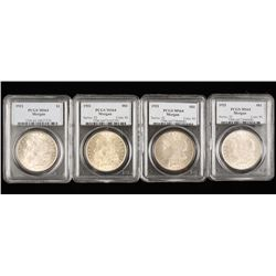 Lot of Four PCGS MS64 Morgan 1921 Silver Dollars