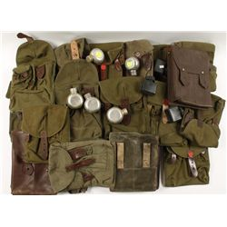 Box lot of Military Canvas and Leather Mag Pouches