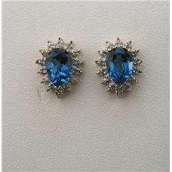 Beautiful Pair Vivid London Blue Topaz & Diamond