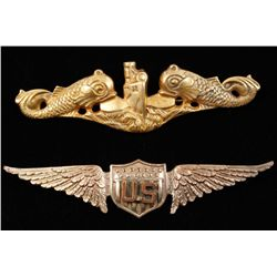US WWI Wing & WWII Breast Badge