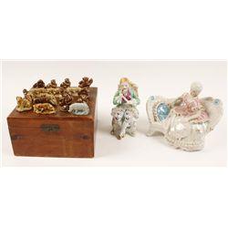 Lot of Vintage Porcelain Figures and Cedar Box