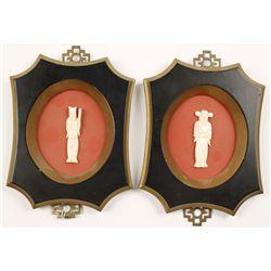 Framed Pair of Miniature Carved Ivory Men