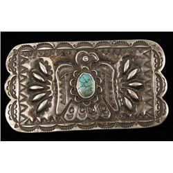 Sterling Silver Belt Buckle with Turquoise Insert