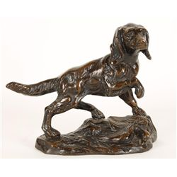Bronze Sculpture of Dog on Point with Bird.