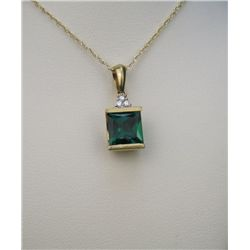 Vibrant Green Chatham Created Emerald & Diamond