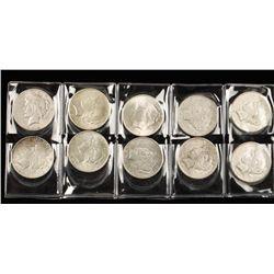 Lot of Ten Silver Peace Dollars