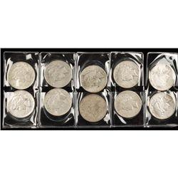Lot of Ten Peace Silver Dollars