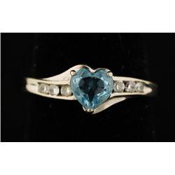 10K Aquamarine & Diamond Ring.