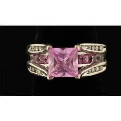 10K Pink Topaz & Diamond Ring.