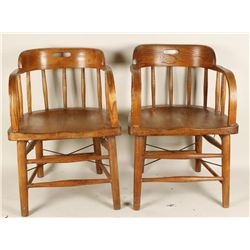 Pair of Barrel Back Chairs.