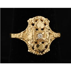 14K Vintage Art Deco Diamond Ring.