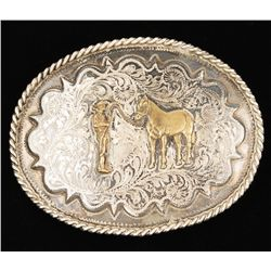 Western Buckle with Cowboy and Horse