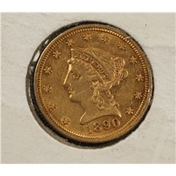 1890 2-1/2 Dollar Liberty Head Gold Coin