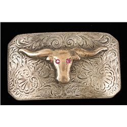 Small Western Buckle with Longhorn Steer