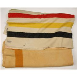 Lot of Two Woolen Western Blankets and a Duster