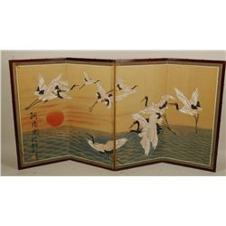 Japanese Screen with Water Cranes