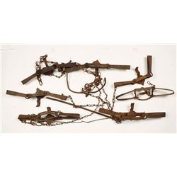 Lot of 7 Leg-hold Animal Traps, Victor.