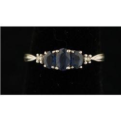 10K Sapphire & Diamond Ring.
