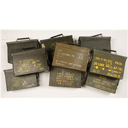 Lot of 9 Green Metal Ammo cans