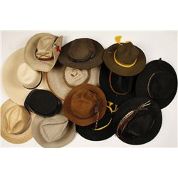 Box Lot of Hats Including Sombreros, campaign hats