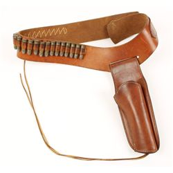 Hunter Leather Belt and Holster with Bullets