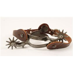 Unmarked Steel Spurs with New Leather Spur Straps