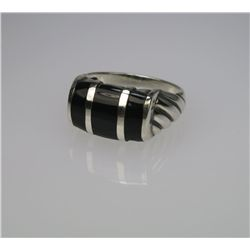 Stylish Inlaid Onyx & Sterling Silver Ring