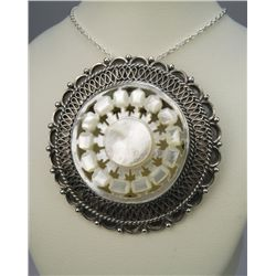 Fabulous Sterling Silver & Mother of Pearl Pendant