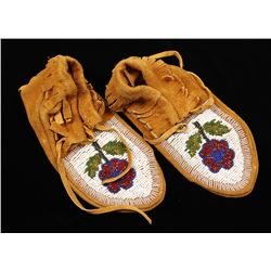 Vintage Pair of Child's Indian Beaded Moccasins.