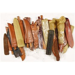 Large Lot of Brown Leather Knife Sheaths