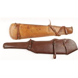 Lot of 2 Leather Rifle Scabbards