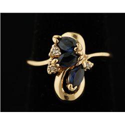 14K Sapphire & Diamond Ring.