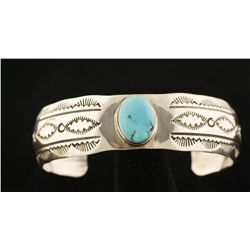 Sterling Cuff with Turquoise by Leroy Sandoval.