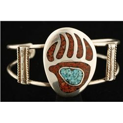 Silver Bear Paw Print Chip Inlay Cuff.