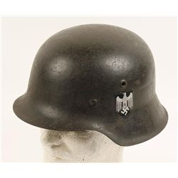 German WWII Army M-42 Single Decal Combat Helmet