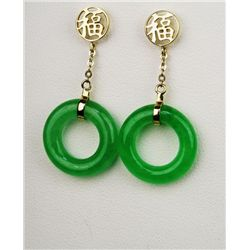 Intriguing Apple Green Jade Dangle Earrings with