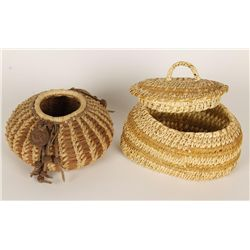Pine Needlework Basketry Pot & Lidded Pot