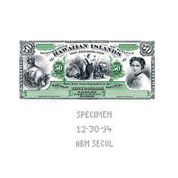 ABNC Souvenir CardSpecimen Kingdom of Hawaii 1879 $50Silver Certificate of Deposit Intaglio Reprin