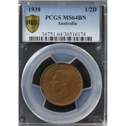 1938 Halfpenny PCGS MS 64 Brown