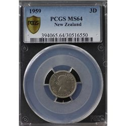 New Zealand Threepence 1959 PCGS MS 64
