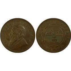 South Africa Penny 1898 PCGS AU 58