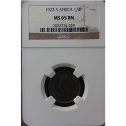 South Africa Farthing 1923 NGC MS 64 Brown